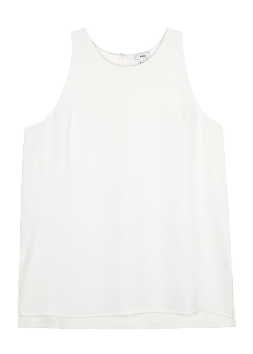 White Crepe Tank - neckline: round neck; pattern: plain; sleeve style: sleeveless; style: vest top; predominant colour: white; occasions: casual; length: standard; fibres: polyester/polyamide - 100%; fit: body skimming; sleeve length: sleeveless; texture group: crepes; pattern type: fabric; season: s/s 2016; wardrobe: basic