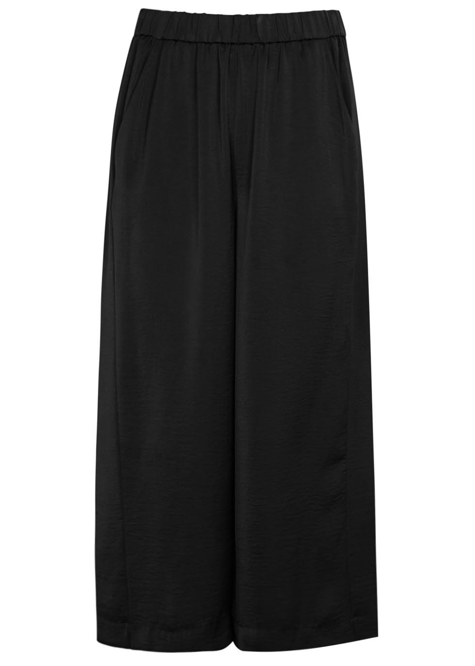 Black Cropped Wide Leg Satin Trousers - pattern: plain; waist: mid/regular rise; predominant colour: black; occasions: evening; length: calf length; fibres: polyester/polyamide - 100%; texture group: structured shiny - satin/tafetta/silk etc.; fit: wide leg; pattern type: fabric; style: standard; season: s/s 2016; wardrobe: event