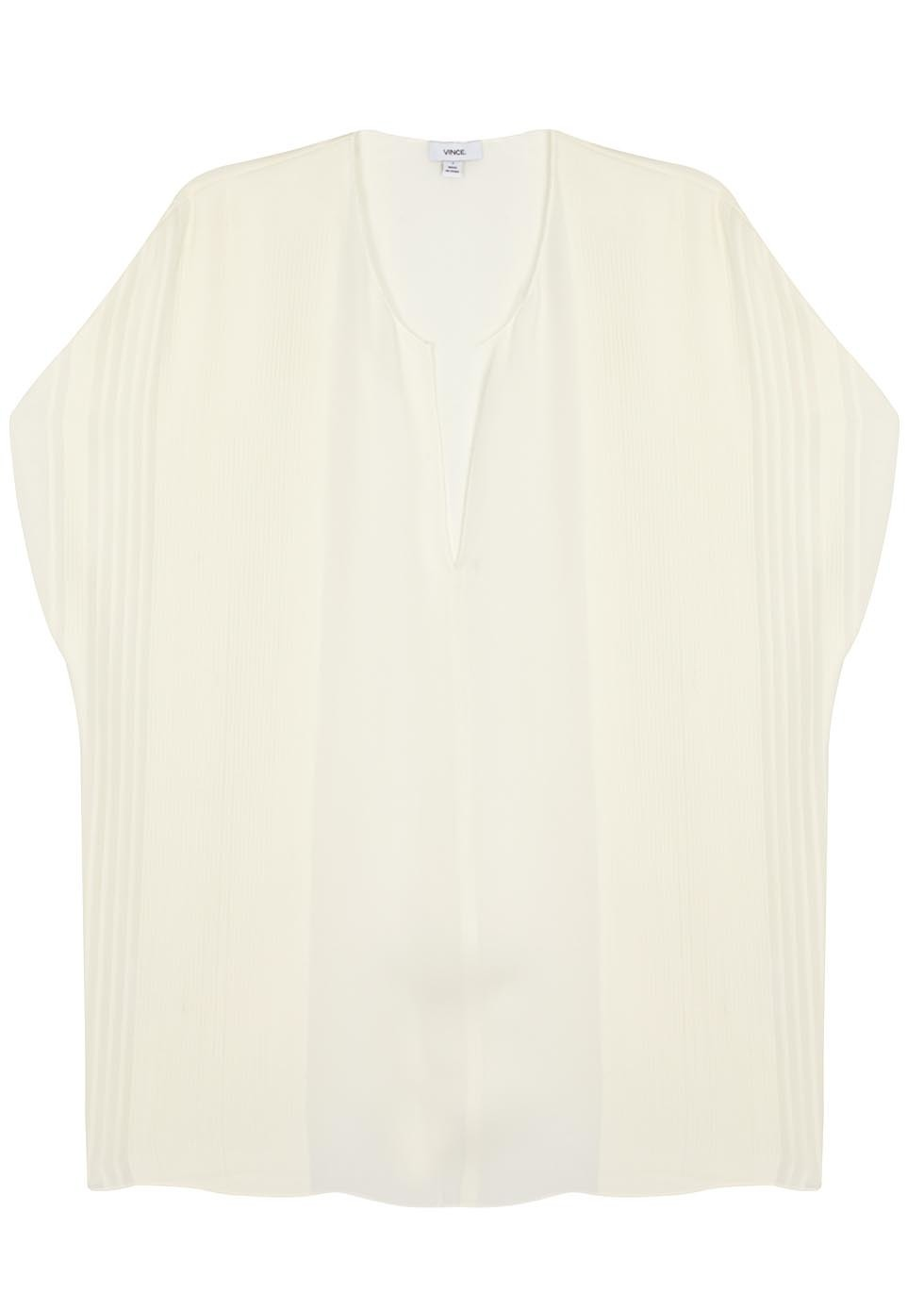 Ivory Pintucked Silk Top - neckline: v-neck; pattern: plain; predominant colour: ivory/cream; occasions: evening; length: standard; style: top; fibres: silk - 100%; fit: body skimming; sleeve length: short sleeve; sleeve style: standard; texture group: silky - light; pattern type: fabric; season: s/s 2016; wardrobe: event