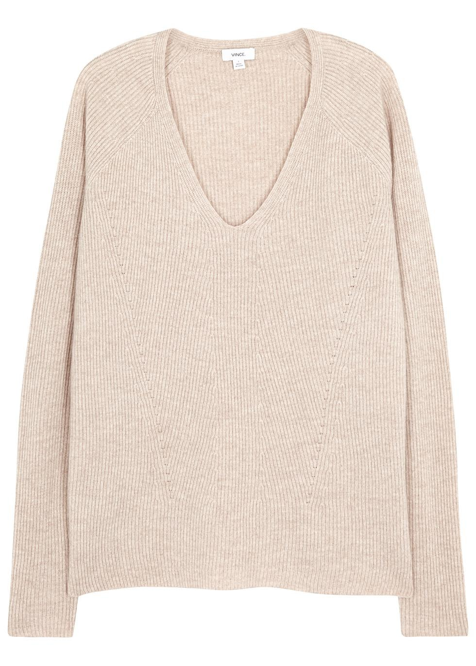 Oatmeal Ribbed Wool Blend Jumper - neckline: v-neck; pattern: plain; style: standard; predominant colour: nude; occasions: casual; length: standard; fibres: wool - mix; fit: standard fit; sleeve length: long sleeve; sleeve style: standard; texture group: knits/crochet; pattern type: knitted - fine stitch; season: s/s 2016; wardrobe: basic