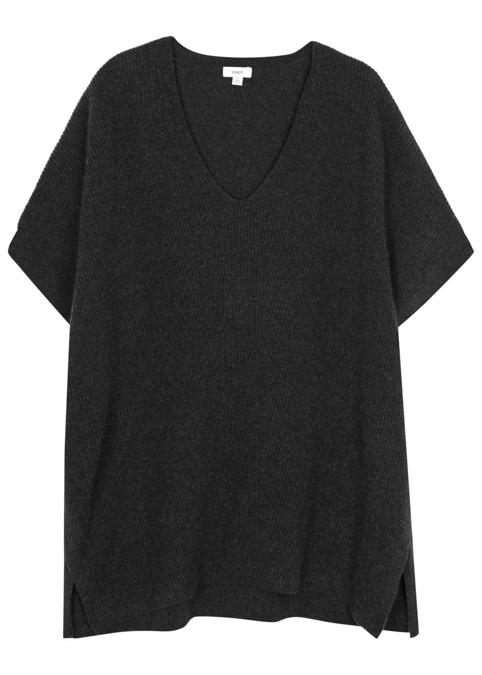 Charcoal Ribbed Front Wool Blend Top - neckline: v-neck; pattern: plain; predominant colour: charcoal; occasions: casual; length: standard; style: top; fibres: wool - mix; fit: loose; sleeve length: short sleeve; sleeve style: standard; pattern type: fabric; texture group: woven light midweight; season: s/s 2016
