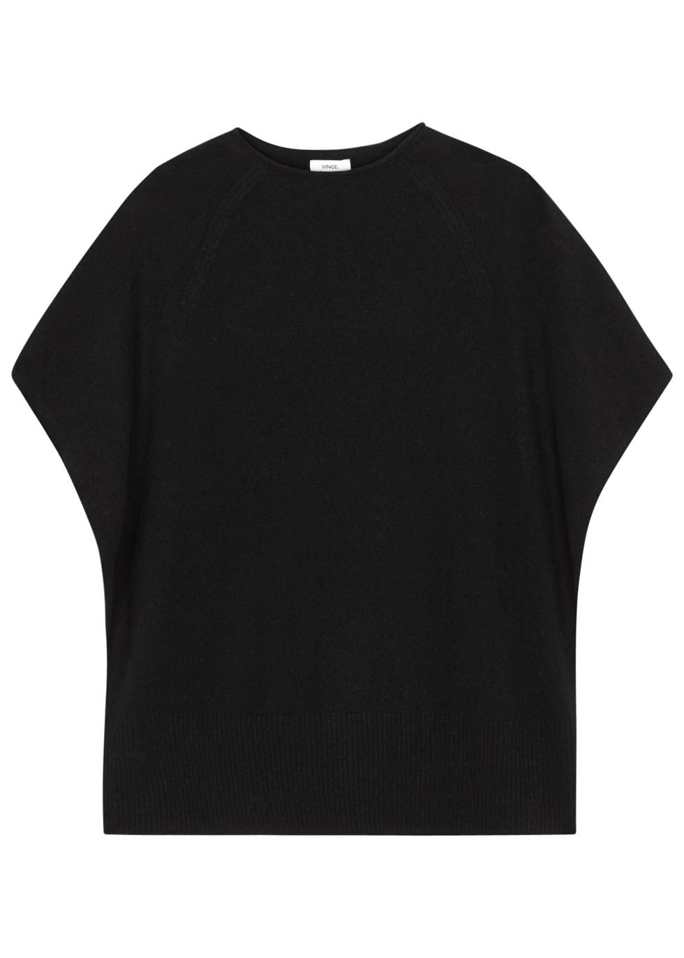 Black Cashmere Top - pattern: plain; predominant colour: black; occasions: casual; length: standard; style: top; fit: body skimming; neckline: crew; fibres: cashmere - 100%; sleeve length: short sleeve; sleeve style: standard; texture group: knits/crochet; pattern type: knitted - fine stitch; season: s/s 2016; wardrobe: basic