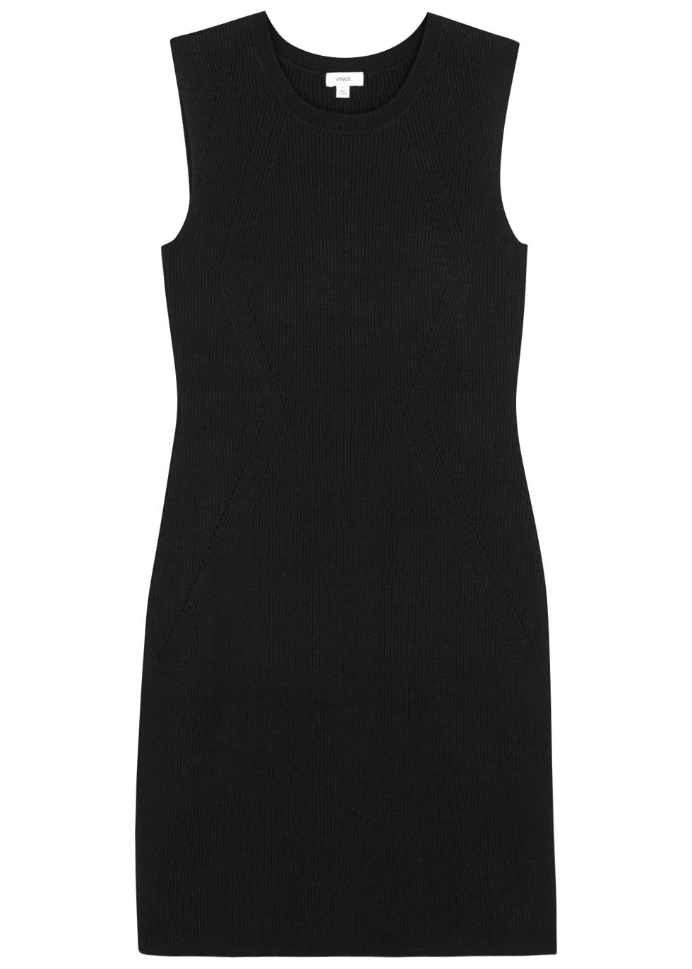 Black Ribbed Wool Blend Dress - style: shift; length: mid thigh; neckline: v-neck; fit: tailored/fitted; pattern: plain; sleeve style: sleeveless; hip detail: draws attention to hips; predominant colour: black; occasions: evening; fibres: wool - mix; sleeve length: sleeveless; pattern type: fabric; texture group: woven light midweight; season: s/s 2016; wardrobe: event