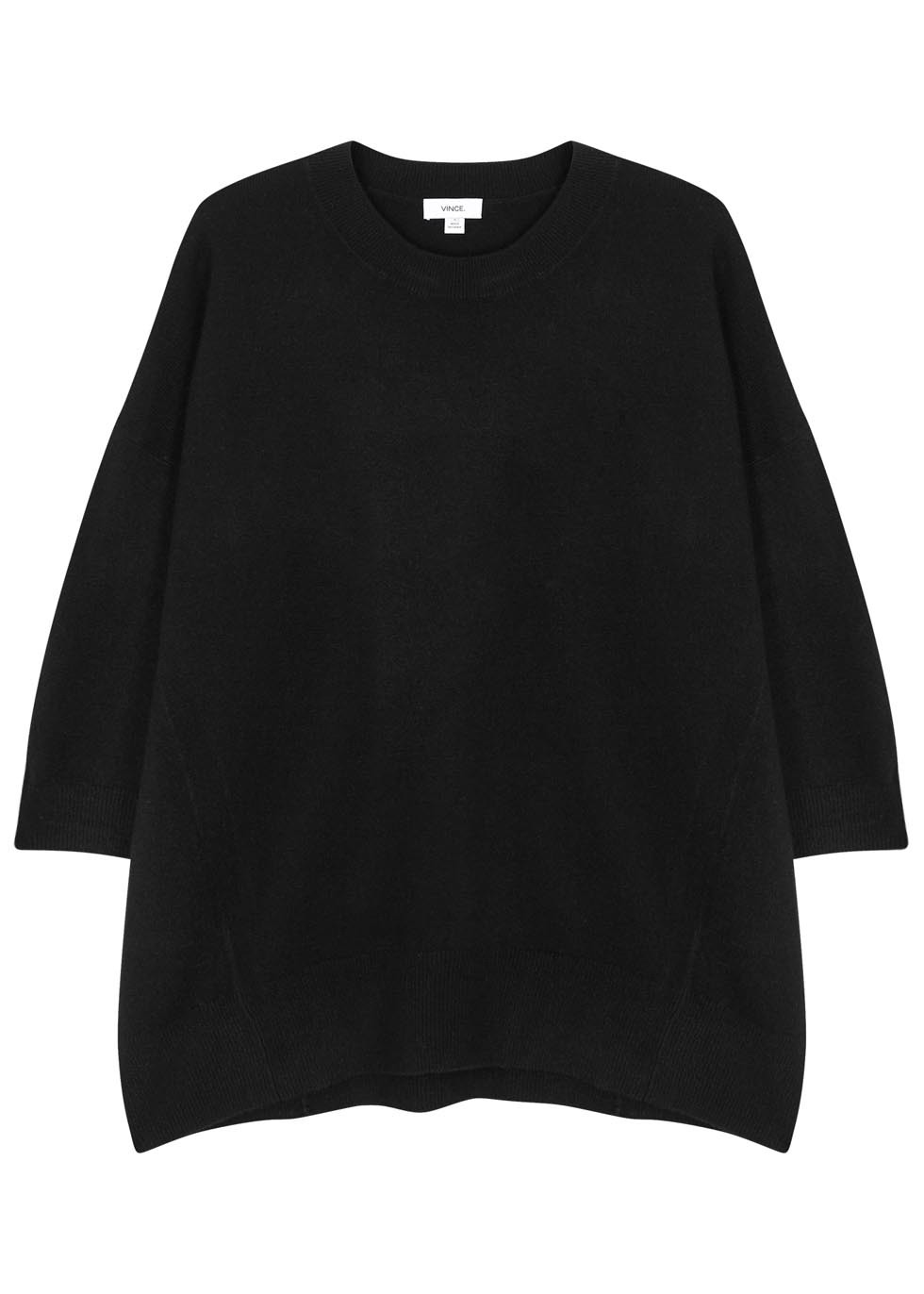 Black Cashmere Blend Jumper - pattern: plain; style: standard; predominant colour: black; occasions: casual; length: standard; fit: loose; neckline: crew; sleeve length: long sleeve; sleeve style: standard; texture group: knits/crochet; pattern type: knitted - fine stitch; fibres: cashmere - mix; season: s/s 2016