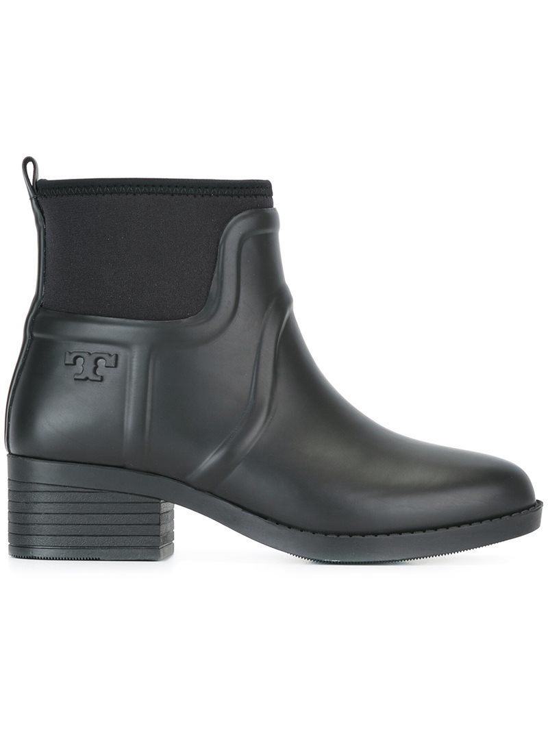 Embossed Logo Ankle Boots, Women's, Black - predominant colour: black; occasions: casual; material: leather; heel height: mid; heel: block; toe: round toe; boot length: ankle boot; style: standard; finish: patent; pattern: plain; season: s/s 2016; wardrobe: basic