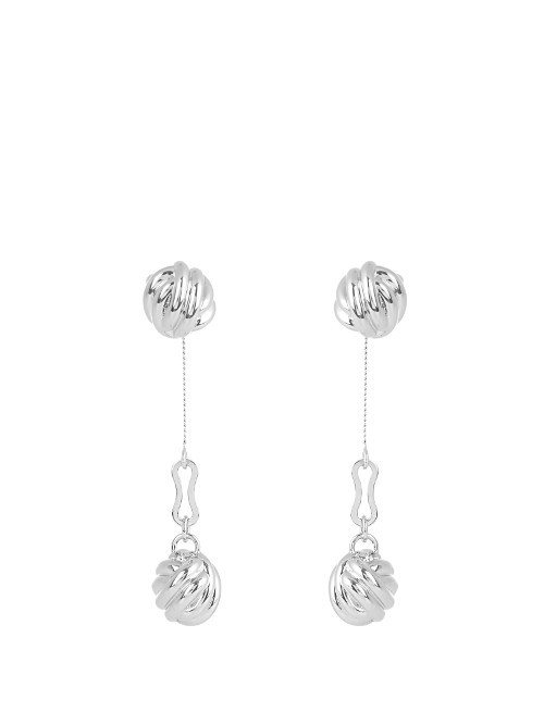 Knot Drop Earrings - predominant colour: silver; occasions: evening, occasion; style: drop; length: extra long; size: standard; material: chain/metal; fastening: pierced; finish: metallic; season: s/s 2016; wardrobe: event