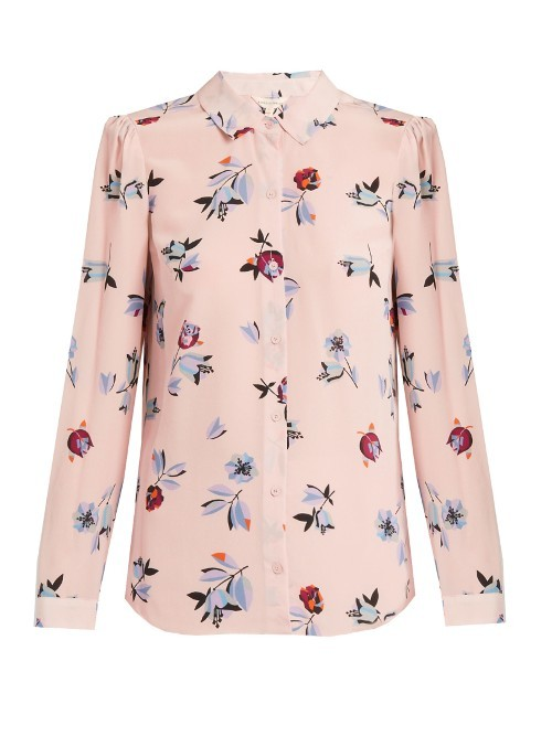 Bellflower Print Silk Shirt - neckline: shirt collar/peter pan/zip with opening; style: shirt; predominant colour: blush; secondary colour: pale blue; occasions: casual; length: standard; fibres: silk - 100%; fit: body skimming; sleeve length: long sleeve; sleeve style: standard; texture group: crepes; pattern type: fabric; pattern: florals; multicoloured: multicoloured; season: s/s 2016; wardrobe: highlight
