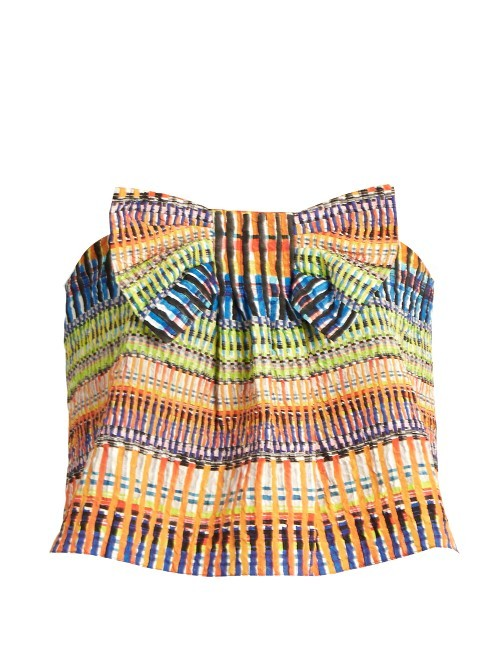 Eve Raffia Print Cropped Top - neckline: strapless (straight/sweetheart); sleeve style: strapless; length: cropped; secondary colour: royal blue; predominant colour: bright orange; occasions: casual; style: top; fibres: polyester/polyamide - mix; fit: body skimming; sleeve length: sleeveless; pattern type: fabric; pattern: patterned/print; texture group: other - light to midweight; embellishment: bow; multicoloured: multicoloured; season: s/s 2016; wardrobe: highlight