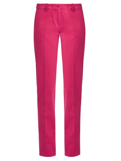 Slim Leg Cotton Blend Trousers - length: standard; pattern: plain; waist: mid/regular rise; predominant colour: pink; occasions: casual, creative work; fibres: polyester/polyamide - stretch; fit: slim leg; pattern type: fabric; texture group: woven light midweight; style: standard; season: s/s 2016; wardrobe: highlight