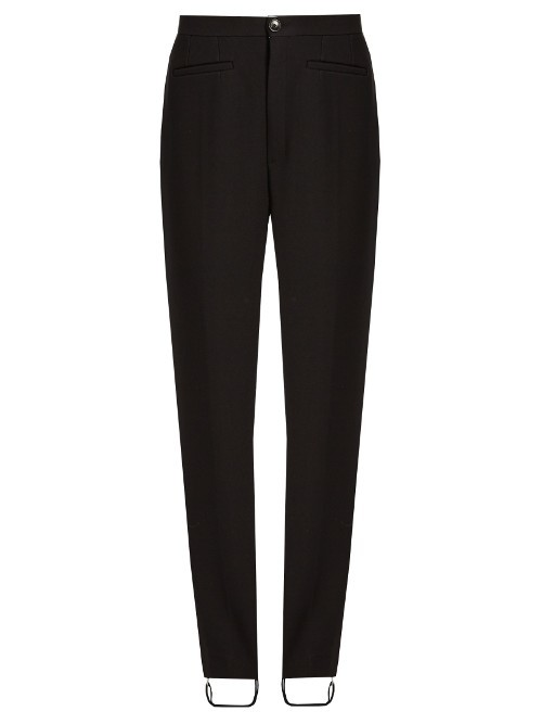 High Rise Stretch Twill Stirrup Trousers - length: standard; pattern: plain; waist: high rise; predominant colour: black; occasions: casual, creative work; fibres: viscose/rayon - stretch; fit: slim leg; pattern type: fabric; texture group: woven light midweight; style: standard; season: s/s 2016; wardrobe: basic