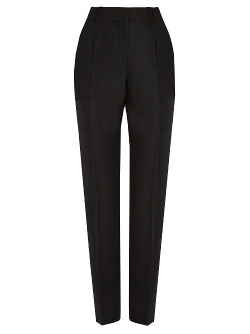 Cigarette Leg Wool Trousers - length: standard; pattern: plain; style: peg leg; waist: high rise; predominant colour: black; occasions: casual, creative work; fibres: wool - 100%; fit: tapered; pattern type: fabric; texture group: woven light midweight; season: s/s 2016