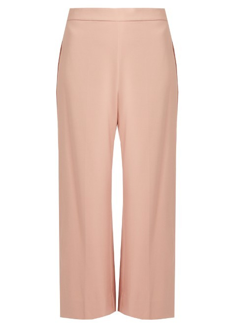 Wide Leg Cropped Trousers - pattern: plain; waist: high rise; predominant colour: blush; occasions: casual, creative work; length: calf length; fibres: viscose/rayon - stretch; fit: wide leg; pattern type: fabric; texture group: woven light midweight; style: standard; season: s/s 2016; wardrobe: basic