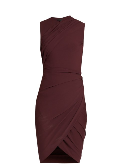 Draped Jersey Sleeveless Dress - fit: tight; pattern: plain; sleeve style: sleeveless; style: bodycon; predominant colour: burgundy; occasions: evening, creative work; length: just above the knee; fibres: viscose/rayon - stretch; neckline: crew; sleeve length: sleeveless; texture group: jersey - clingy; pattern type: fabric; season: s/s 2016