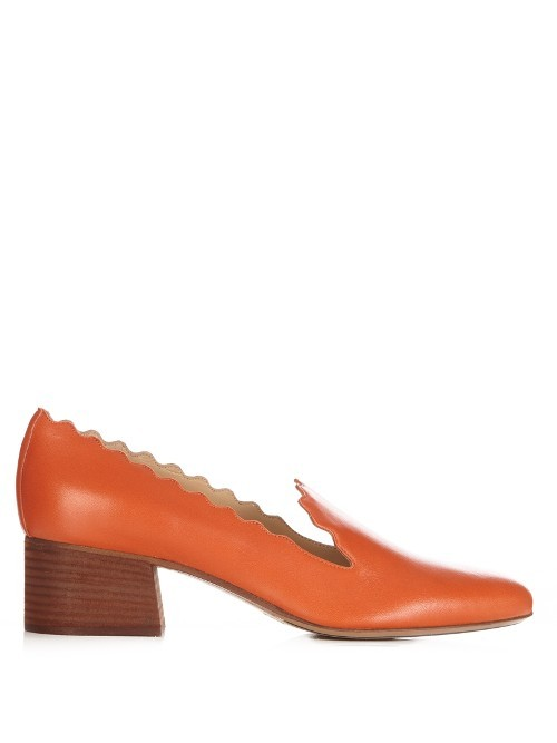 Lauren Scallop Edged Suede Loafers - predominant colour: bright orange; occasions: casual, creative work; material: leather; heel height: flat; toe: pointed toe; style: loafers; finish: plain; pattern: plain; season: s/s 2016; wardrobe: highlight