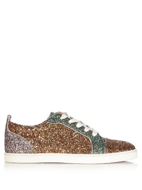 Gondoliere Low Top Panelled Glitter Trainers - predominant colour: bronze; occasions: casual; material: leather; heel height: flat; embellishment: glitter; toe: round toe; style: trainers; finish: metallic; pattern: plain; multicoloured: multicoloured; season: s/s 2016; wardrobe: basic