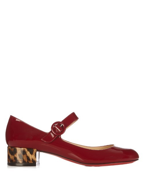 Dolly Birdy 30mm Patent Leather Pumps - predominant colour: true red; occasions: casual, creative work; material: leather; heel height: mid; heel: block; toe: round toe; style: mary janes; finish: patent; pattern: animal print; season: s/s 2016; wardrobe: highlight