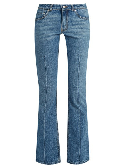 Mid Rise Flared Cropped Jeans - style: flares; length: standard; pattern: plain; pocket detail: traditional 5 pocket; waist: mid/regular rise; predominant colour: denim; occasions: casual, creative work; fibres: cotton - stretch; jeans detail: whiskering; texture group: denim; pattern type: fabric; season: s/s 2016; wardrobe: basic
