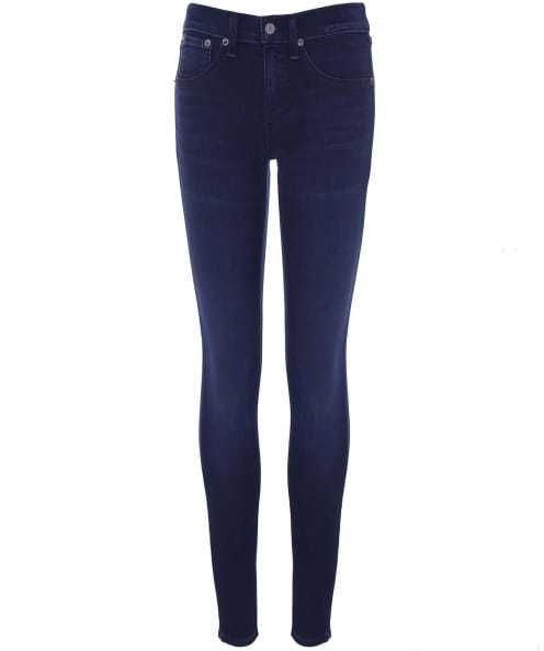 Mid Rise Capri Jeans - style: skinny leg; length: standard; pattern: plain; waist: high rise; pocket detail: traditional 5 pocket; predominant colour: navy; occasions: casual; fibres: cotton - stretch; jeans detail: dark wash; texture group: denim; pattern type: fabric; season: s/s 2016