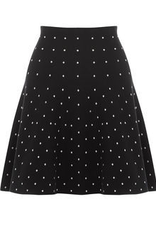 Knitted Spot Skirt - length: mid thigh; fit: body skimming; pattern: polka dot; waist: mid/regular rise; secondary colour: white; predominant colour: black; occasions: casual; style: fit & flare; fibres: polyester/polyamide - 100%; trends: monochrome; texture group: crepes; pattern type: fabric; multicoloured: multicoloured; season: s/s 2016