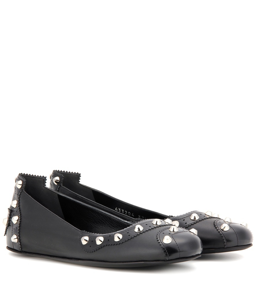 Embellished Leather Ballerinas - predominant colour: black; occasions: casual; material: leather; heel height: flat; embellishment: studs; toe: round toe; style: ballerinas / pumps; finish: plain; pattern: plain; season: s/s 2016; wardrobe: basic