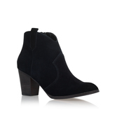 Sade - predominant colour: black; occasions: casual, creative work; material: suede; heel height: high; heel: block; toe: round toe; boot length: ankle boot; style: standard; finish: plain; pattern: plain; season: s/s 2016; wardrobe: highlight