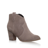 Sade - predominant colour: mid grey; occasions: casual, creative work; material: suede; heel height: high; heel: block; toe: round toe; boot length: ankle boot; style: standard; finish: plain; pattern: plain; season: s/s 2016; wardrobe: highlight