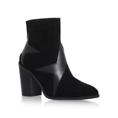 Skywalk - predominant colour: black; occasions: casual, creative work; material: suede; heel height: high; heel: block; toe: pointed toe; boot length: ankle boot; style: standard; finish: plain; pattern: plain; season: s/s 2016; wardrobe: highlight
