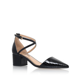 Ava - predominant colour: black; occasions: work, creative work; material: leather; heel height: mid; ankle detail: ankle strap; heel: block; toe: pointed toe; style: courts; finish: patent; pattern: plain; season: s/s 2016; wardrobe: investment