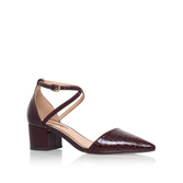 Ava - predominant colour: burgundy; occasions: work, creative work; material: leather; heel height: mid; ankle detail: ankle strap; heel: block; toe: pointed toe; style: courts; finish: patent; pattern: plain; season: s/s 2016; wardrobe: highlight