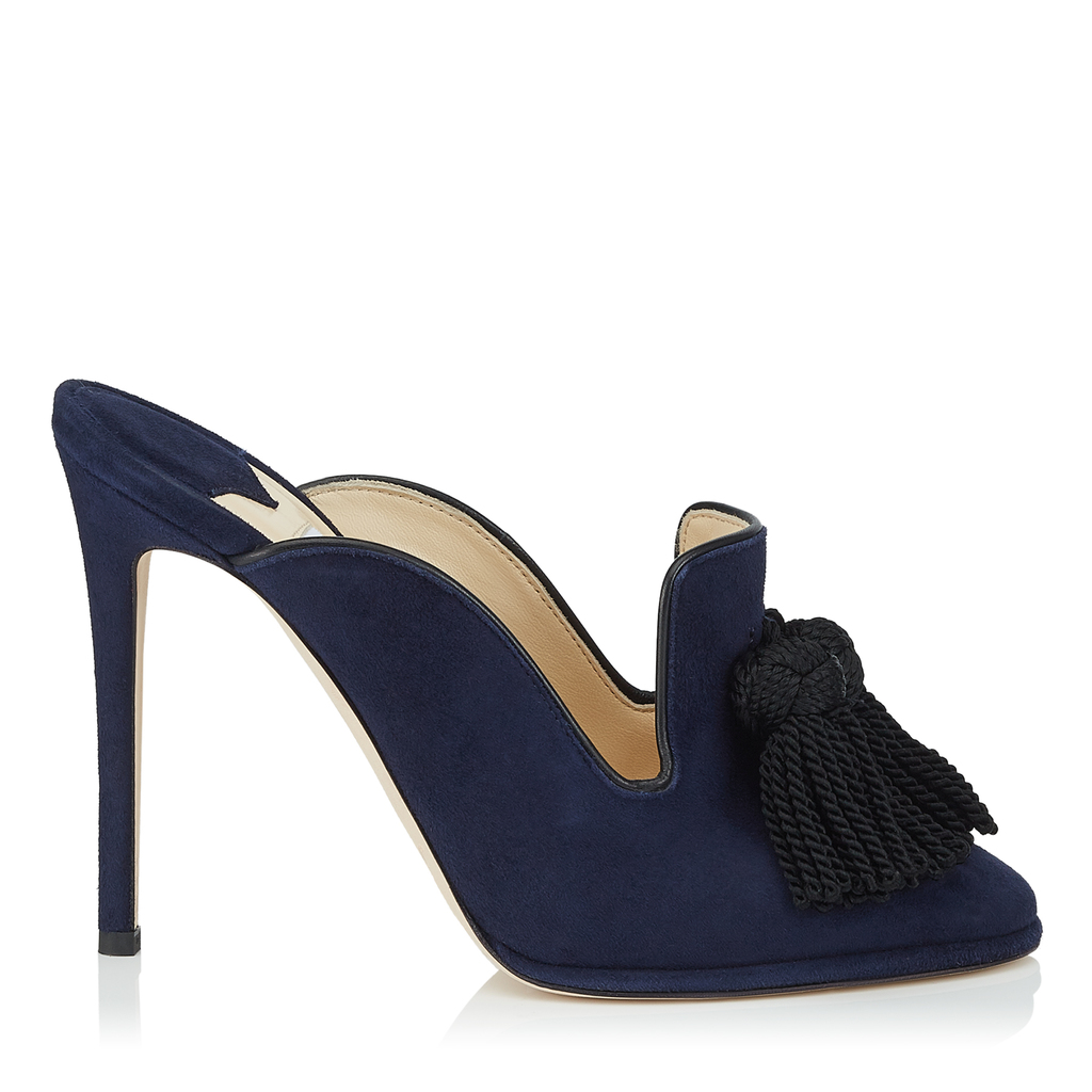Dexley 110 Navy Suede Slip On Mules With Tassel Detail - predominant colour: navy; secondary colour: black; occasions: evening, occasion; material: suede; embellishment: tassels; heel: stiletto; toe: pointed toe; style: mules; finish: plain; pattern: plain; heel height: very high; season: s/s 2016; wardrobe: event