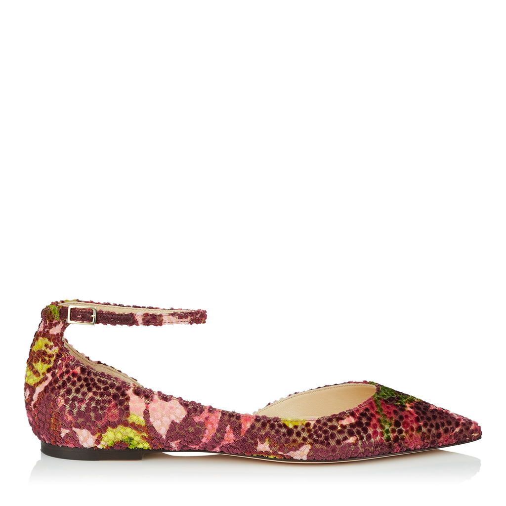 Lucy Flat Multi Floral Lamé Fabric Pointy Toe Flats - predominant colour: hot pink; occasions: casual, creative work; material: satin; heel height: flat; toe: pointed toe; style: ballerinas / pumps; finish: plain; pattern: florals; multicoloured: multicoloured; season: s/s 2016; wardrobe: highlight