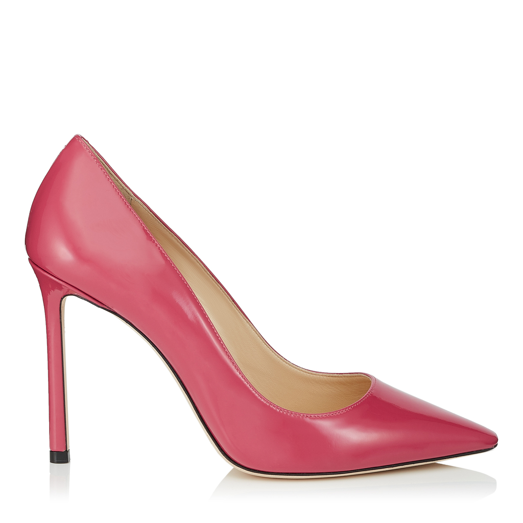 Romy 100 Candy Pink Patent Pointy Toe Pumps - predominant colour: hot pink; occasions: evening, occasion, creative work; material: leather; heel: stiletto; toe: pointed toe; style: courts; finish: plain; pattern: plain; heel height: very high; season: s/s 2016; wardrobe: highlight