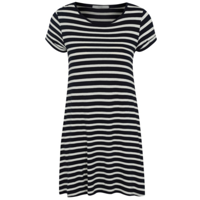 Stripe Tunic Navy - neckline: round neck; pattern: horizontal stripes; length: below the bottom; style: tunic; secondary colour: white; predominant colour: navy; occasions: casual; fibres: viscose/rayon - stretch; fit: body skimming; sleeve length: short sleeve; sleeve style: standard; pattern type: fabric; texture group: jersey - stretchy/drapey; multicoloured: multicoloured; season: s/s 2016; wardrobe: basic