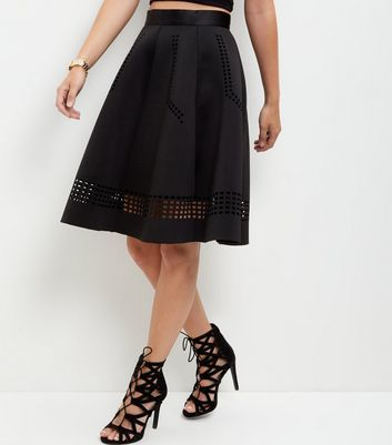 Black Scuba Laser Cut Out Trim Midi Skirt - pattern: plain; style: full/prom skirt; fit: loose/voluminous; waist: high rise; predominant colour: black; occasions: evening, occasion, creative work; length: on the knee; fibres: polyester/polyamide - stretch; hip detail: subtle/flattering hip detail; pattern type: fabric; texture group: woven light midweight; season: s/s 2016; wardrobe: basic