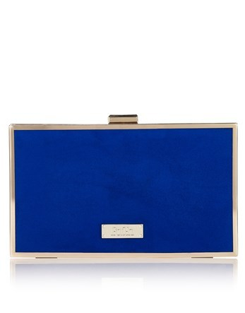 Clutch Bag - predominant colour: royal blue; secondary colour: gold; occasions: evening, occasion; type of pattern: standard; style: clutch; length: hand carry; size: small; pattern: plain; finish: plain; material: faux suede; season: s/s 2016; wardrobe: event
