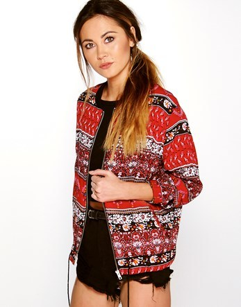 Paisley Print Bomber - collar: round collar/collarless; style: bomber; predominant colour: true red; occasions: casual; length: standard; fit: straight cut (boxy); fibres: polyester/polyamide - 100%; sleeve length: long sleeve; sleeve style: standard; collar break: high; pattern type: fabric; pattern: patterned/print; texture group: woven light midweight; multicoloured: multicoloured; season: s/s 2016