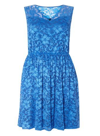 Skater Dress - neckline: v-neck; sleeve style: sleeveless; predominant colour: diva blue; occasions: evening; length: just above the knee; fit: fitted at waist & bust; style: fit & flare; fibres: polyester/polyamide - 100%; sleeve length: sleeveless; texture group: lace; pattern type: fabric; pattern: patterned/print; season: s/s 2016; wardrobe: event