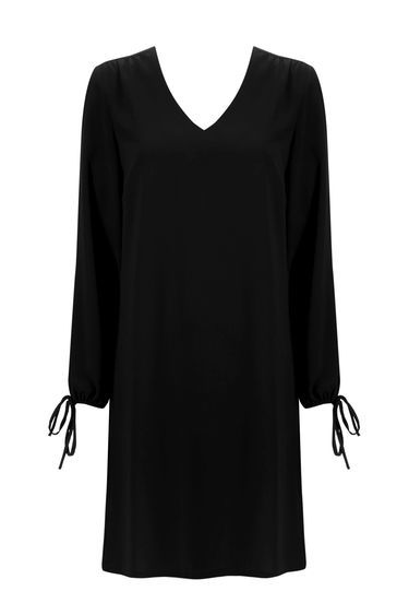 Black Split Sleeve V Neck Tunic Dress - style: tunic; neckline: v-neck; pattern: plain; predominant colour: black; occasions: casual, work, creative work; length: just above the knee; fit: body skimming; fibres: polyester/polyamide - 100%; sleeve length: long sleeve; sleeve style: standard; pattern type: fabric; texture group: jersey - stretchy/drapey; season: s/s 2016; wardrobe: basic