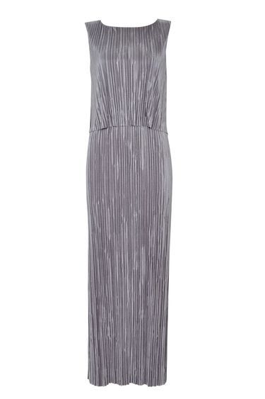 Grey Plisse Maxi Dress - neckline: slash/boat neckline; pattern: plain; sleeve style: sleeveless; style: maxi dress; length: ankle length; predominant colour: light grey; occasions: evening, occasion; fit: body skimming; fibres: polyester/polyamide - 100%; sleeve length: sleeveless; pattern type: fabric; texture group: jersey - stretchy/drapey; season: s/s 2016; wardrobe: event; trends: metallics