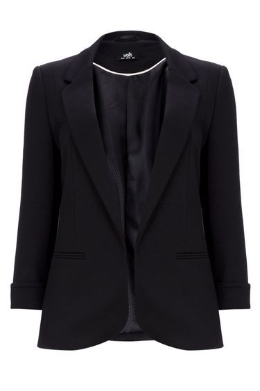 Black Pocket Jacket - pattern: plain; style: single breasted blazer; collar: standard lapel/rever collar; predominant colour: black; occasions: work; length: standard; fit: tailored/fitted; fibres: polyester/polyamide - stretch; sleeve length: 3/4 length; sleeve style: standard; collar break: medium; pattern type: fabric; texture group: woven light midweight; season: s/s 2016