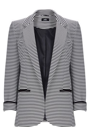 Monochrome Striped Jacket - pattern: horizontal stripes; style: single breasted blazer; collar: standard lapel/rever collar; predominant colour: white; secondary colour: black; occasions: casual, creative work; length: standard; fit: straight cut (boxy); fibres: polyester/polyamide - stretch; sleeve length: 3/4 length; sleeve style: standard; collar break: low/open; pattern type: fabric; texture group: woven light midweight; season: s/s 2016; wardrobe: highlight