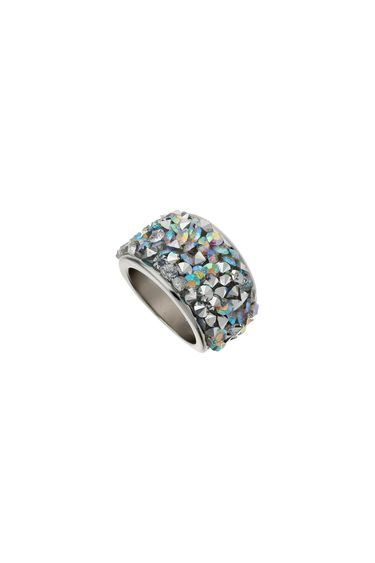 Encrusted Facet Band - predominant colour: silver; occasions: evening, occasion; style: band; size: large/oversized; material: chain/metal; finish: metallic; embellishment: jewels/stone; season: s/s 2016; wardrobe: event
