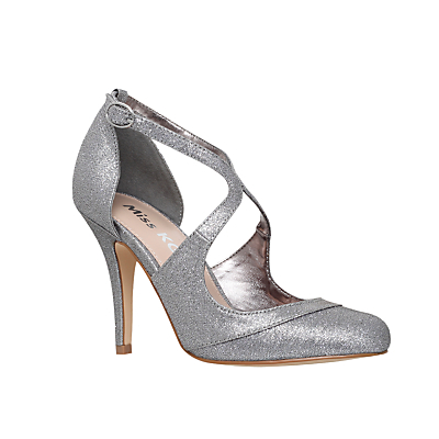 Natalie Stiletto Heeled Court Shoes, Gunmetal Fabric - predominant colour: silver; occasions: evening, occasion; material: faux leather; heel height: high; heel: stiletto; toe: round toe; style: courts; finish: plain; pattern: plain; season: s/s 2016; wardrobe: event