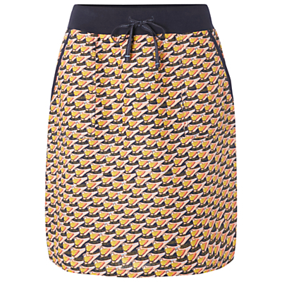 Doodle Linen Print Skirt - length: mid thigh; fit: body skimming; waist detail: belted waist/tie at waist/drawstring; waist: mid/regular rise; predominant colour: navy; secondary colour: yellow; occasions: casual, creative work; style: mini skirt; fibres: linen - 100%; texture group: linen; pattern type: fabric; pattern: patterned/print; pattern size: big & busy (bottom); season: s/s 2016