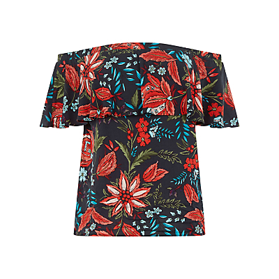 Botanical Drawn Floral Top - neckline: off the shoulder; secondary colour: true red; predominant colour: navy; occasions: casual, creative work; length: standard; style: top; fibres: viscose/rayon - 100%; fit: body skimming; sleeve length: short sleeve; sleeve style: standard; texture group: cotton feel fabrics; pattern type: fabric; pattern: florals; pattern size: big & busy (top); season: s/s 2016; wardrobe: highlight