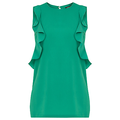 Woven Front Ruffle Shell Top - pattern: plain; sleeve style: sleeveless; predominant colour: emerald green; occasions: casual, creative work; length: standard; style: top; fibres: viscose/rayon - 100%; fit: body skimming; neckline: crew; sleeve length: sleeveless; texture group: crepes; bust detail: bulky details at bust; pattern type: fabric; season: s/s 2016; wardrobe: highlight