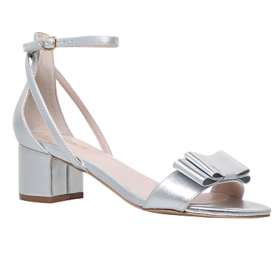 Gertrude Bow Block Heeled Sandals - predominant colour: silver; occasions: evening; material: satin; heel height: mid; ankle detail: ankle strap; heel: block; toe: open toe/peeptoe; style: strappy; finish: plain; pattern: plain; embellishment: bow; season: s/s 2016; wardrobe: event