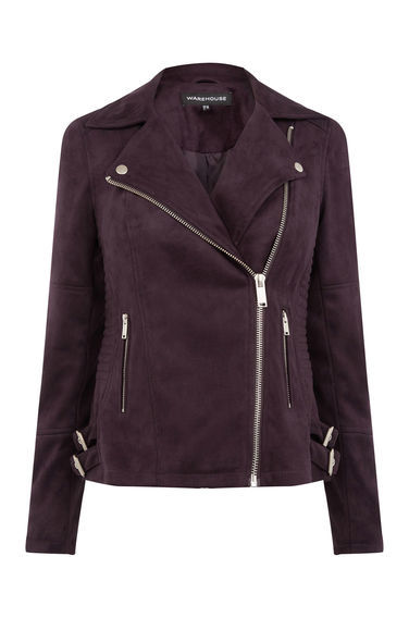 Suedette Biker Jacket - pattern: plain; style: biker; collar: asymmetric biker; fit: slim fit; predominant colour: chocolate brown; occasions: casual, evening, creative work; length: standard; fibres: polyester/polyamide - 100%; sleeve length: long sleeve; sleeve style: standard; collar break: medium; pattern type: fabric; texture group: suede; season: s/s 2016; wardrobe: basic