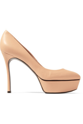 Leather Pumps Beige - predominant colour: nude; occasions: evening, occasion; material: leather; heel: stiletto; toe: pointed toe; style: courts; finish: patent; pattern: plain; heel height: very high; shoe detail: platform; season: s/s 2016; wardrobe: event