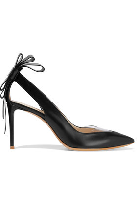 Bow Embellished Leather Pumps Black - predominant colour: black; occasions: evening, work, occasion; material: leather; heel height: high; heel: stiletto; toe: pointed toe; style: courts; finish: plain; pattern: plain; season: s/s 2016
